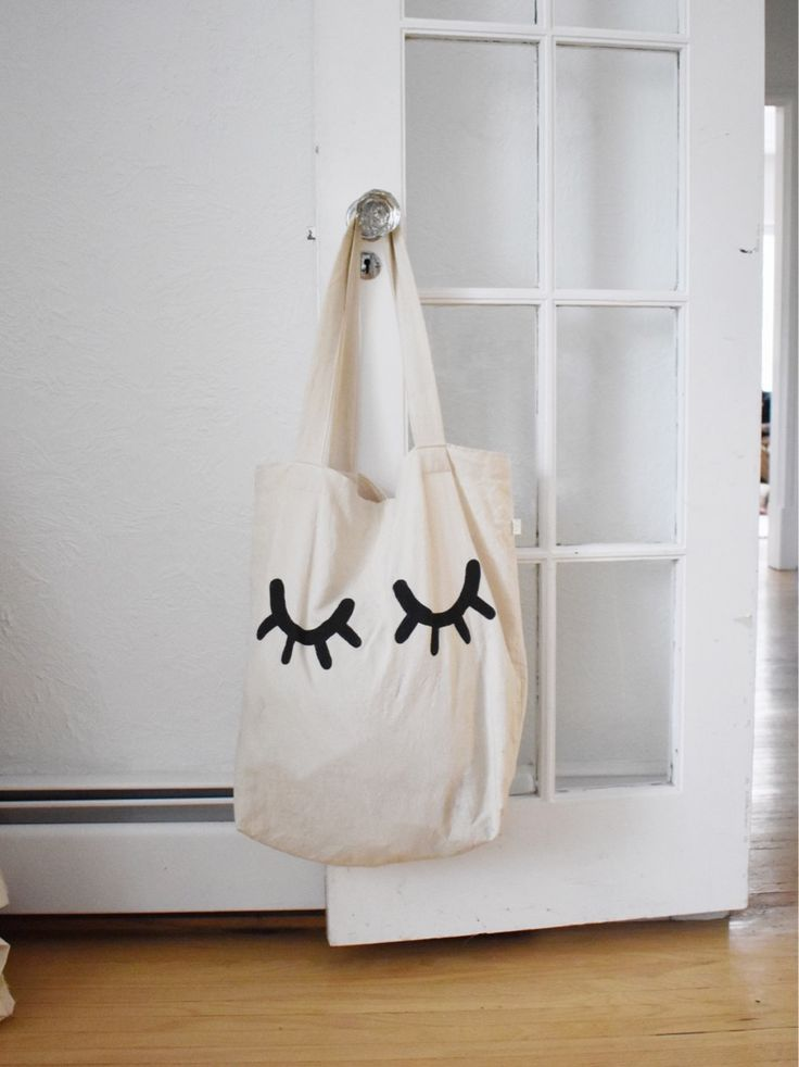 Sleepy eyes tote Bag handmade hand painted natural ecofriendly nontoxic sustainable modern