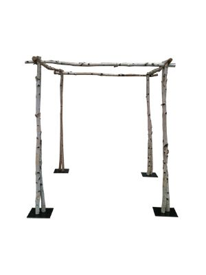 6 ft x 6 ft x 6.5 ft tall chuppah made of 2-3″ diameter birch branches and black painted steel plate bases. It costs approximate $220 total to ship (including to you and back again to us, we …