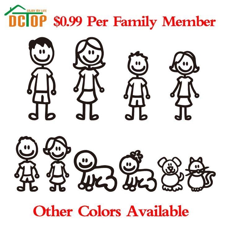 Membro della Famiglia personalizzato Viny Decalcomania Auto Stick Figure FAI DA TE Adesivo Finestra Adesivi Per Auto Impermeabile Auto Sticker