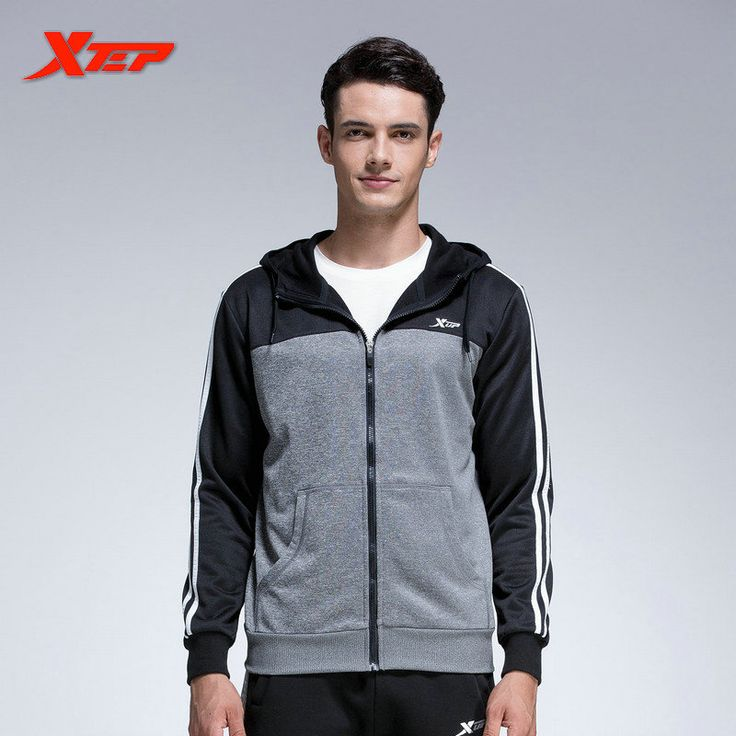 XTEP Mens Sport Jackets With Hooded Athletic Suits For Men Running T Shirt Fitness Quick Dry Sportswear Clothing 884129349263