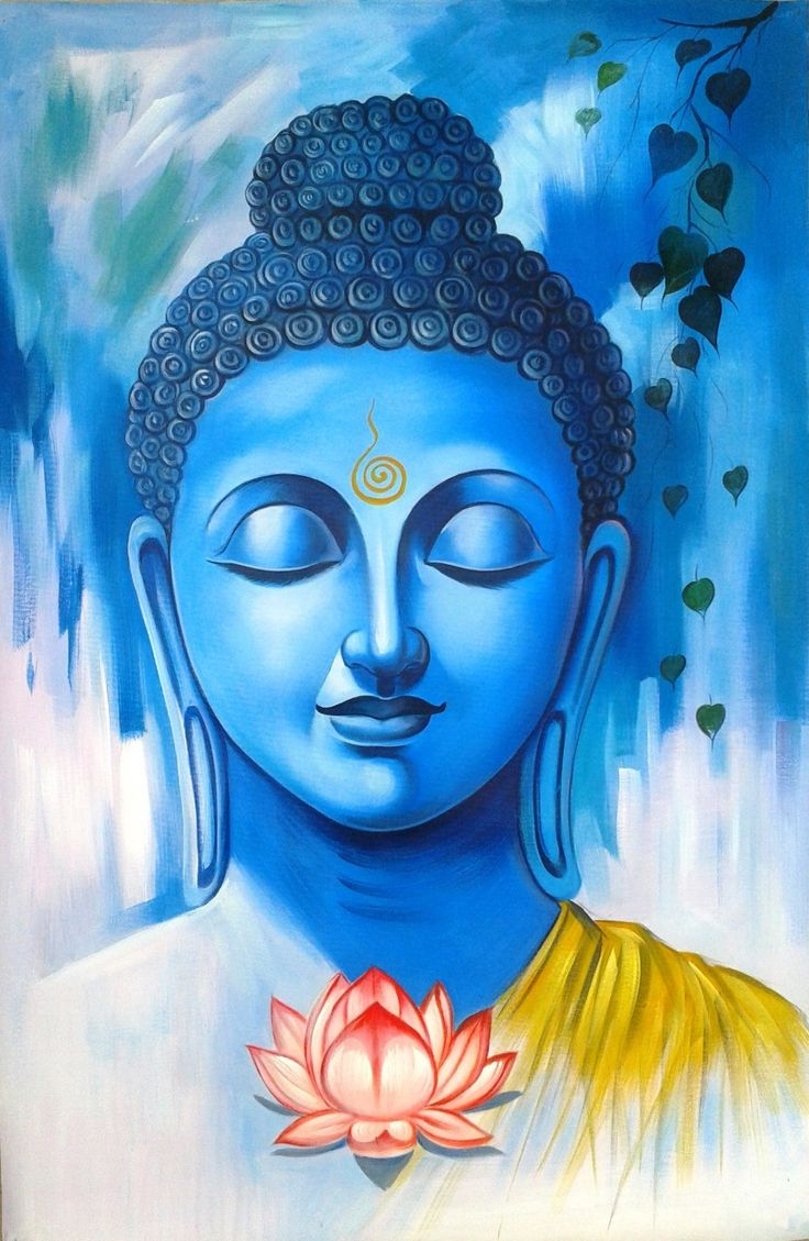 Great Buddha01 - 24in X 36in,ART_RHKA01_2436,Acrylic Color,Canvas,Artist Rajesh Kundhia ,God,Buddha,Blue Buddha,Peace,Meditation,Blue Background,Museum Quality 100% Handpainted - Buy painting Online in India