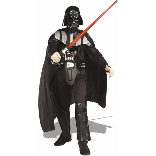 Deluxe Darth Vader Adult Costume | Costume Includes: Jumpsuit with EVA Molded Body Armor, Attached collar, Attached boot tops, Chest piece, Injection-molded 1/2 mask, Cape.