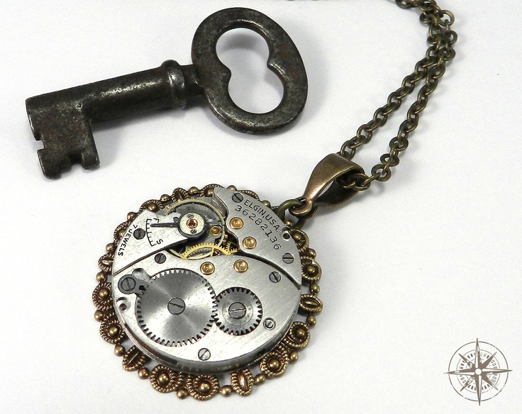 Steampunk Necklace Unisex Upcycled 7Jewel Mechanical Watch