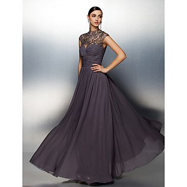 A-line High Neck Floor-length Chiffon Evening Dress. Do you like this dress?