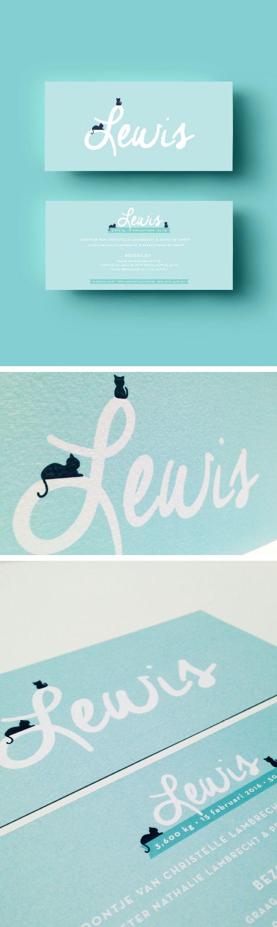Geboortekaartje Lewis Appelblauwzeegroen // turquoise // silhouette // kat // eenvoud