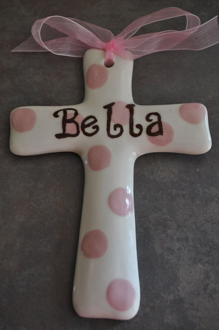 181 best baby or kids clay gift ideas images on pinterest ceramic personalized pink dot ceramic cross great for baby gifts baptism gift christening gift or negle Images