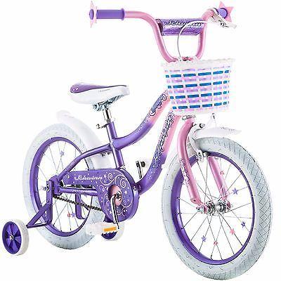 16 In Girls Bike Basket Cycling Training Wheel Pink Purple Kids Bicycle Children