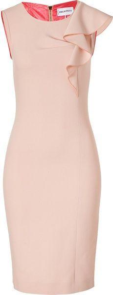 PUCCI Colonial Rose Wool Sheath Dress - Lyst - one shoulder dress, orange dress, shirt dress *ad