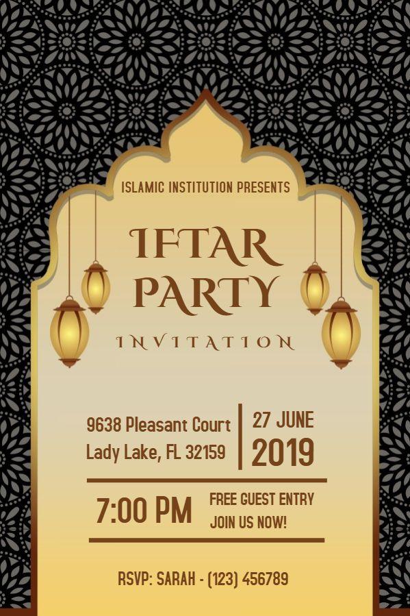 Ramadan Iftar Party Invitation Poster Template Black Kartu