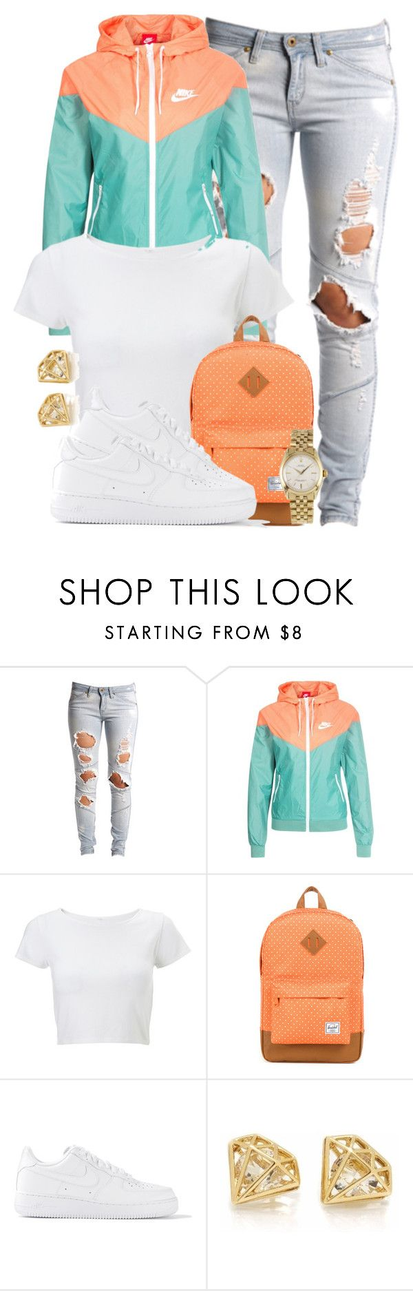 """""""Nike Sportswear Windrunner Jacket."""" by cheerstostyle ❤ liked on Polyvore featuring Lee, NIKE, Lipsy, Herschel Supply Co., Rolex, women's clothing, women, female, woman and misses"""
