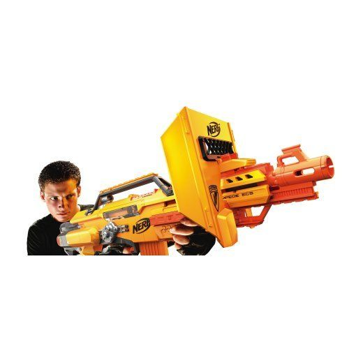 Nerf N-Strike Stampede ECS by Nerf. $57.90. A removable shield allowing players to transition to Attack Mode. The first fully automatic Nerf Clip System blaster to date. The ultimate full auto clip system blaster complete with a Blast Shield, 3 Extended Clips, 1 Quick-Reload Clip and 60 darts. The Nerf N-Strike ECS blaster is one of the most awesome and exciting N-Strike developments released in over 40 years of Nerf brand history. Amazon.com                Aspiri...