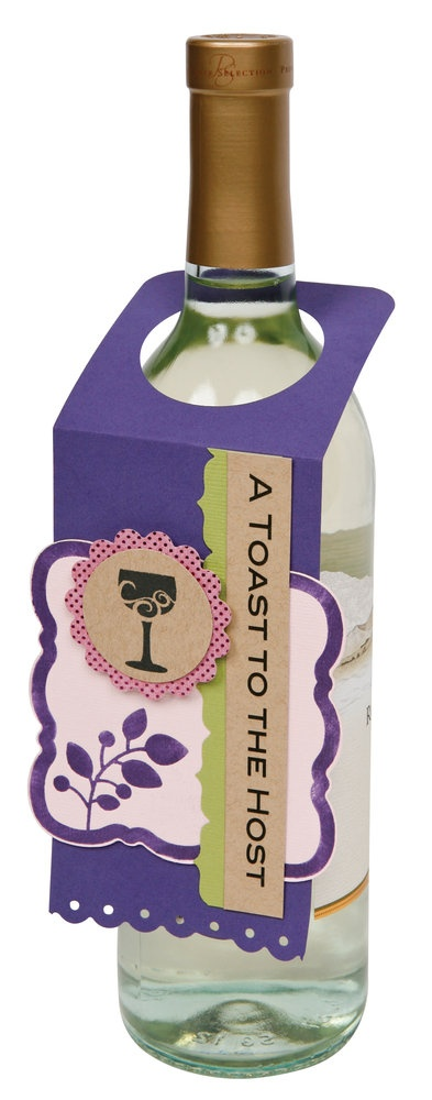 perfect gift for a hostess: a wine bottle and homemade tag! www.fiskars.com
