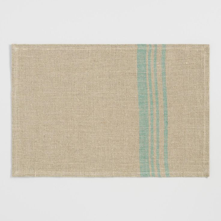 Woven of 100% linen, each of our natural-toned placemats offers a lovely hint of texture and plenty of style for your place settings with a contemporary teal stripe design at one side.