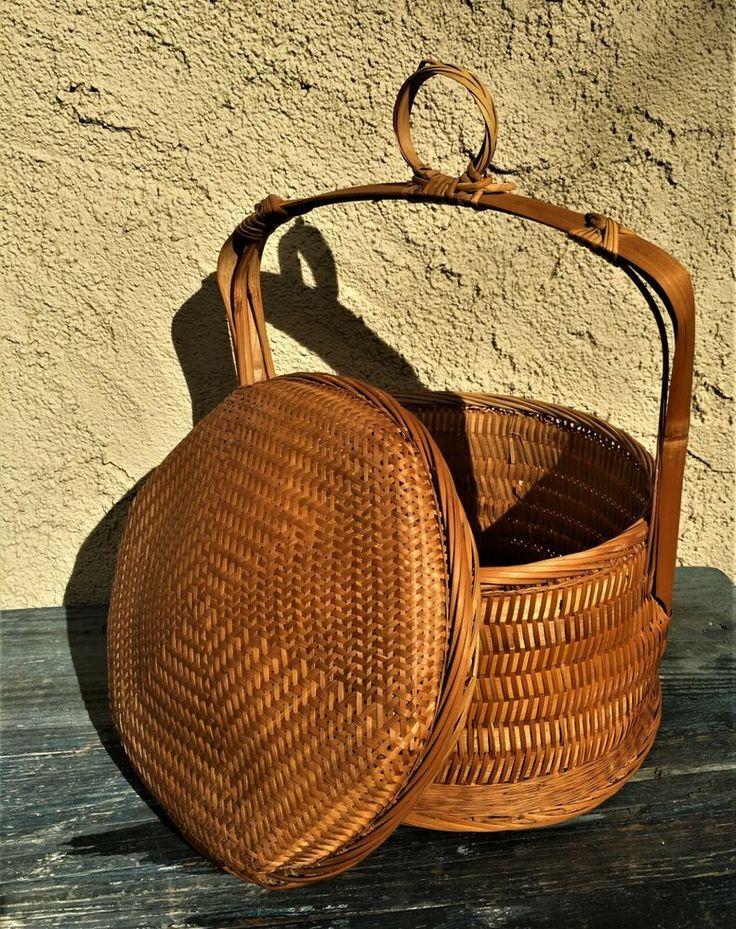 Antique Chinese Wedding Basket Split Bamboo Amp Wicker Dome Lid Amp Handle Wedding Basket
