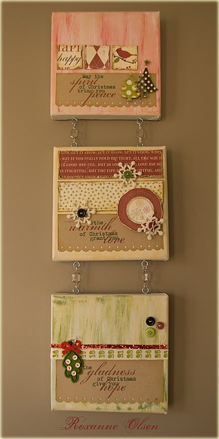 Love the idea of scrapbooking on canvas and then connecting them with eyelets!