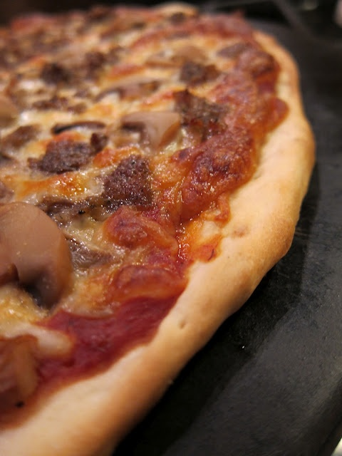 Beer Crust Pizza. This pizza dough uses beer instead of yeast.  The result is a quick and tasty thin crust pizza that is on the table in about 30 minutes.