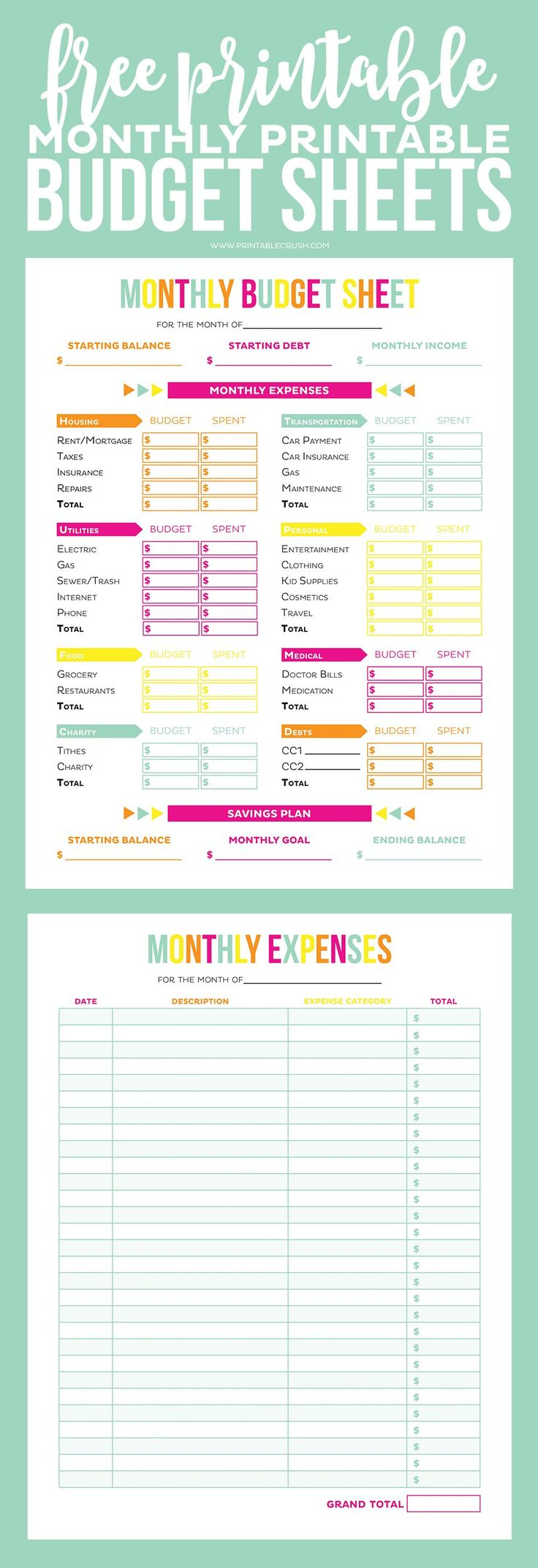 Get your finances in order with these FREE Printable Budget Sheets! Includes monthly budget and expense sheets so you can easily keep track of your money!