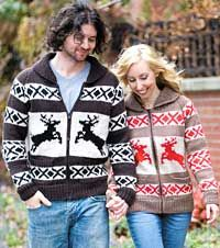 http://www.canadianliving.com/crafts/knitting/knitted_reindeer_jackets_for_him_and_her.php: Knits Reindeer, Free Knits, Knits Patterns, Free Patterns, Knits Sweaters, Reindeer Sweaters, Reindeer Jackets, Cute Jackets, Cowichan Sweaters Patterns