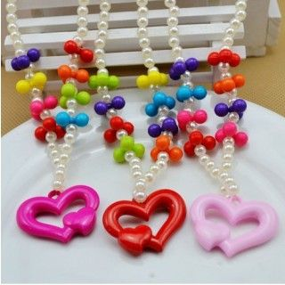Fabulous Resin Big Heart Multicolour Ball Jewelry Sets for Kids
