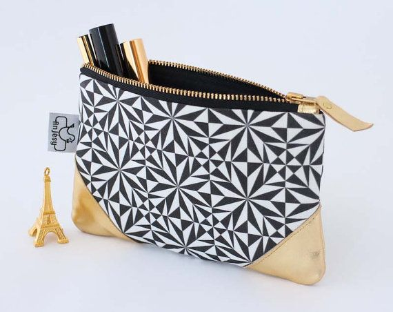 Black and white leather pouch/Original ANJESY Designs/Leather zipper pouch