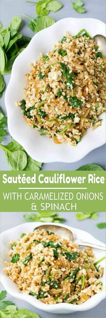 Cauliflower rice recipes are fantastic for low carb side dishes, and this one is flavored with caramelized onions, spinach and feta. 76 calories and 2 Weight Watchers Freestyle SP