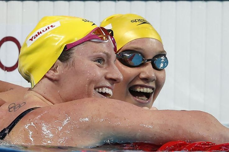 Gold for Emily Seebohm, silver, Madison Wilson (right), one nation, Australia, two medals - by Patrick B. Kraemer