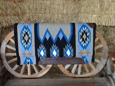 NAVAJO BLUE MERINO MOHAIR WOOL WESTERN THERAPEUTIC CUTTER SHOCK HORSE SADDLE PAD