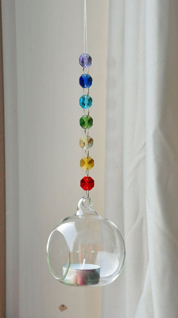 hanging glass globe crystal bubble candle holder terrarium chakra decoration meditation yoga reiki relaxation light catcher gift idea ~  $13.41 ea ❤