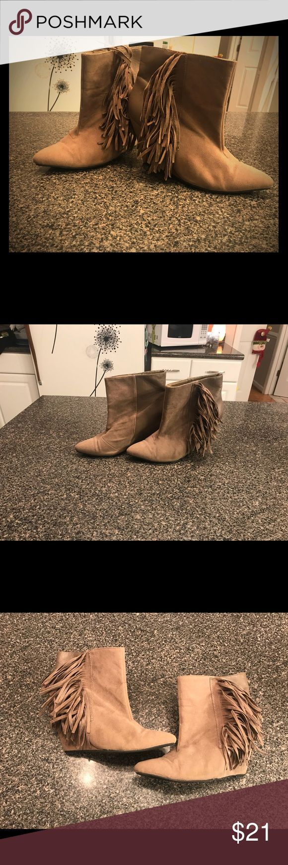 Adorable tan ankle booties Adorable tan ankle booties - tan ankle booties with fringe details on the side & pointed toe- small scuff on one shoe- I used some shoe polish to repair so not noticeable while wearing Shoes Ankle Boots & Booties
