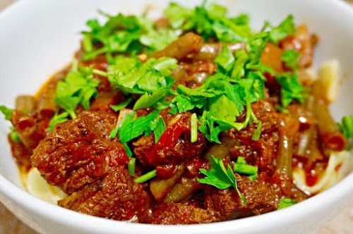 Home food: Лагман из говядины с овощами и яичной лапшой / Laghman beef with vegetables and egg noodles