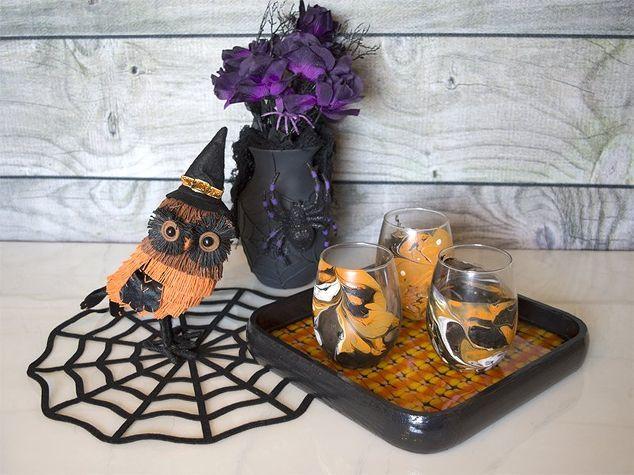 halloween candy corn serving tray, halloween decorations, seasonal holiday decor