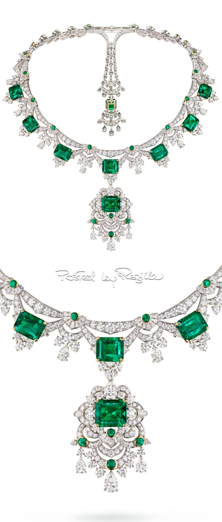 Spectacular emerald and diamond necklace from the Emeraude en Majesté collection by @vancleefarpels