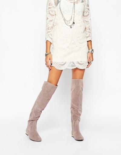 Daisy Street Grey Flat Over The Knee Boots at asos.com #flatkneeboots #covetme