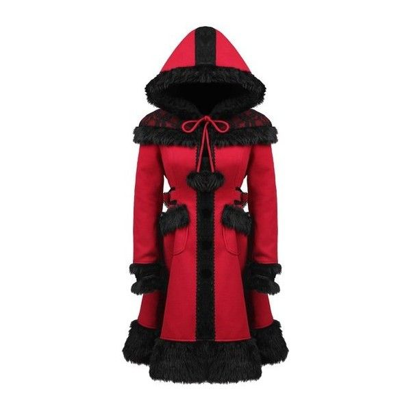 Punk Rave Dolly Coat Red Black Fur Lace Trim Hooded Goth Lolita Winter... ($170) ❤ liked on Polyvore featuring outerwear, jackets, lolita, gothic jackets, punk rock jacket, goth jacket, punk gothic jacket and punk jacket