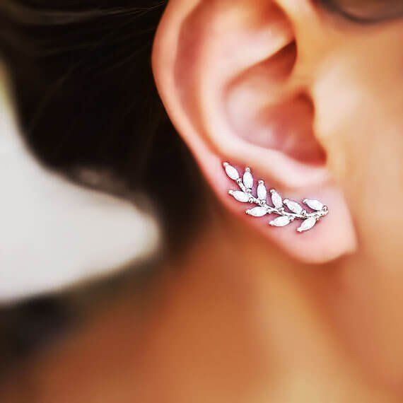 Crawler Earrings Crawlers Ear Climbers Wave Ear Cuff Vine Ear Crawlers Modern Ear Cuff Silver Ear Sweeps