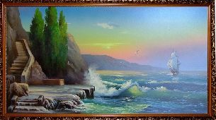 Море бьется о скалы - Морской пейзаж <- Картины маслом <- Картины - Каталог | Универсальный интернет-магазин подарков и сувениров