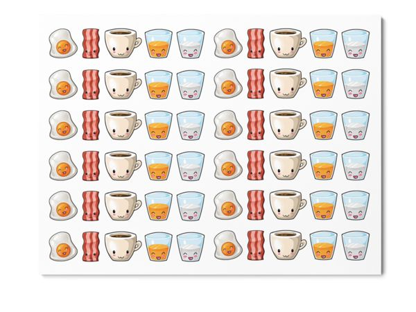 In this kawaii breakfast kit you will get 60 stickers with eggs, bacon, coffee, orange juice and milk.Stickers measure approx. 13,5 mm inheight. These Planner