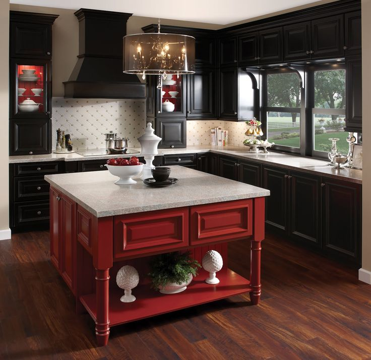 Maple floors dark kitchen cabinets white countertops for Red kitchen with white cabinets