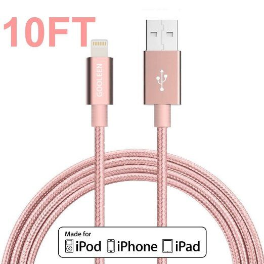 iphone charger, GOOLEEN 10ft/3M Lightning Cable Nylon Braided Charging Cable Extra Long USB Syncing Cord for iphone se, 6s,6s plus,6plus,6,5s 5c 5, iPad Mini, Air,iPad5,iPod 7 on iOS9 - Rose Gold, 2016 Amazon Hot New Releases Industrial Electrical #Indus