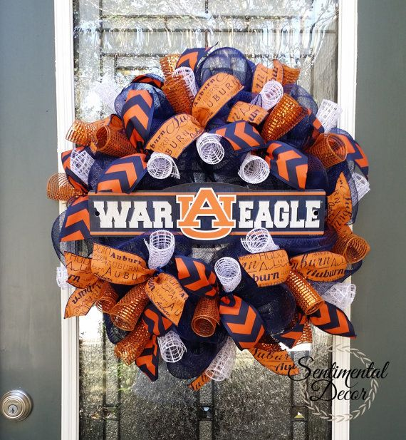 Show your Auburn War Eagle/Tiger pride with this full navy blue and burnt orange deco mesh wreath! Whether its for your home, sorority,