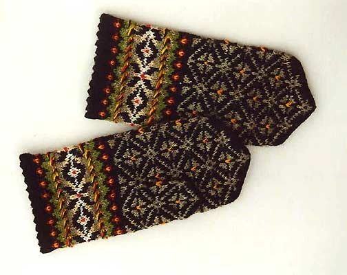 """High quality hand knitted warm wool mittens , gloves """"Green Woods"""" patterned with different splendid nature colors. $50.00, via Etsy."""