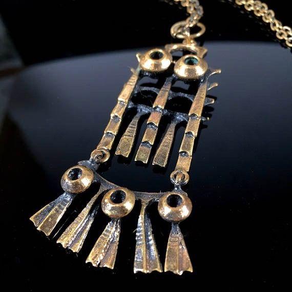 "#forsale > Pentti Sarpaneva for Kalevala Koru (FI), vintage modernist ""Owl"" bronze kinetic pendant, 1960s. #finland | finlandjewelry.com"