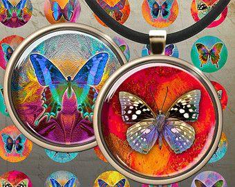 1 pulgada (25mm) y 1,5 pulgadas círculos mariposas Digital Collage hoja arte culto para imprimir imágenes de imanes colgantes botella bandejas de tapas bisel