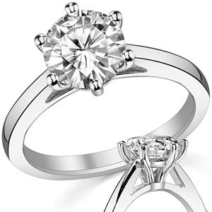 Round Moissanite 6-Prong Cathedral Solitaire Ring Model No: sol355 - Round 8mm/2.0ct $1040.00