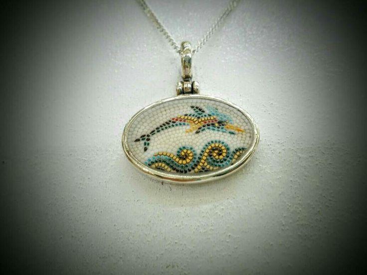 #santorini#greece#dolphin#mosaic#silver#littleshopathens#argentum #etsy #jewelry #necklace #enamel #greek #handmade #gift http://etsy.me/2CUUwmB