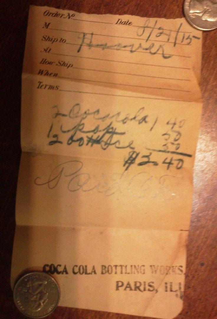 Illinois edgar county kansas - Paris Il Coca Cola Bottling Works Receipt Rare 1915