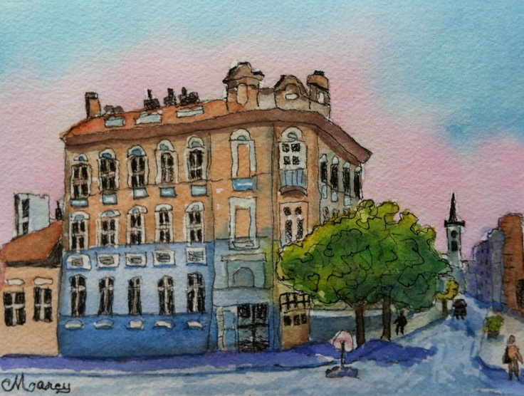 "Nitra, Slovakia - 5"" x 7"" watercolor on paper by Marcy Brennan  $25 marcybrennanart.blogspot.com"