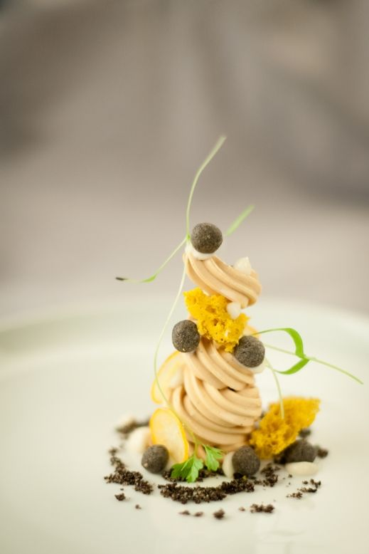 Quebec Foie Gras w/ black benne, white coffee, kumquat, croissant