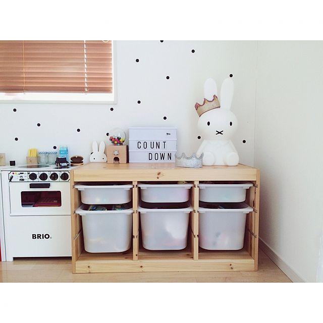 女性で、4LDKのこどもと暮らす。/おままごとキッチン/木のおもちゃ/gatchagatcha/kiko+…などについてのインテリア実例を紹介。「TROFASTのボックスを白に」(この写真は 2016-05-02 09:23:43 に共有されました)
