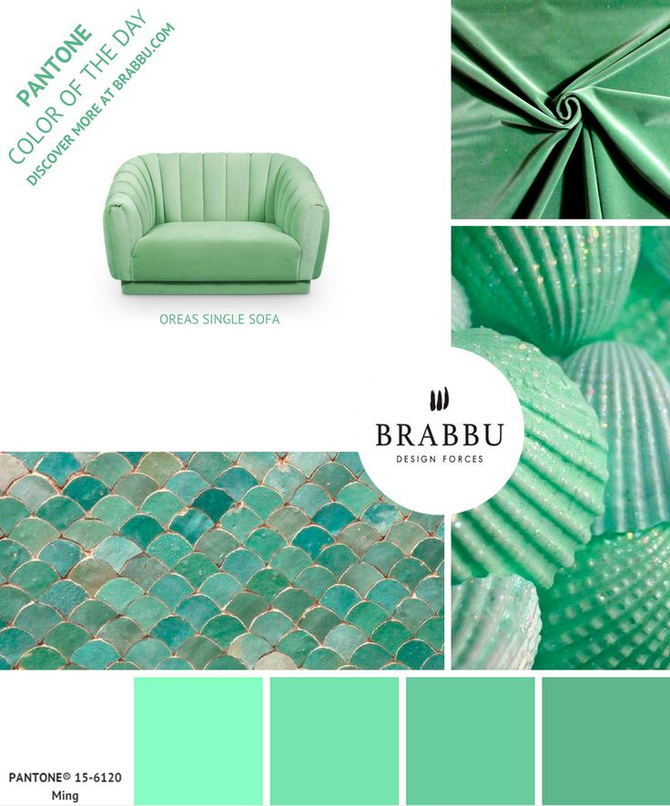 @pantonecolor Color of the Day: Ming | Mood Boards. Color Trends. #colors #pantone #moodboard #interiordesign Discover more at: https://www.brabbu.com/moodboards/